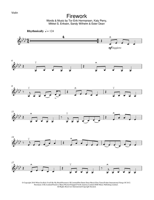 Katy Perry Firework Sheet Music Notes Chords Printable Pop
