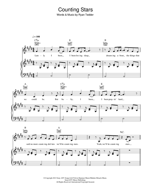 Counting Stars By Onerepublic Piano Vocal Guitar Music Notes