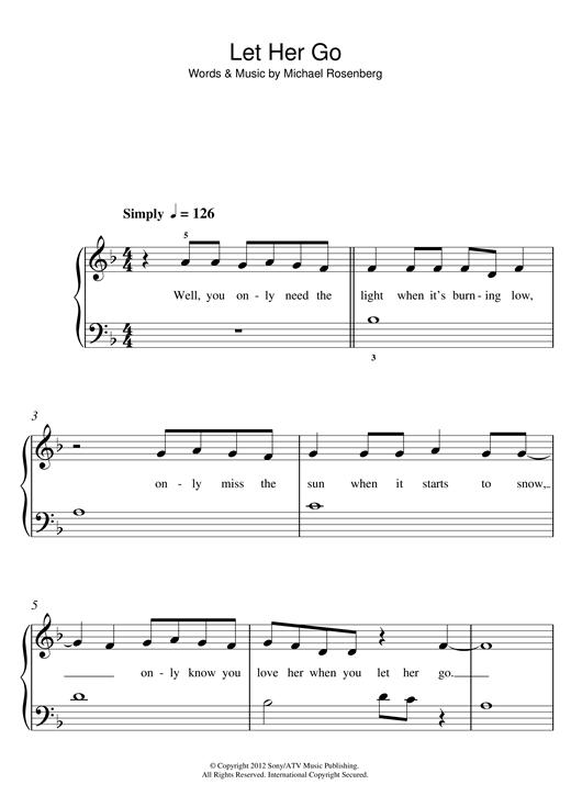 Passenger Let Her Go Sheet Music Notes Chords Printable Folk 5