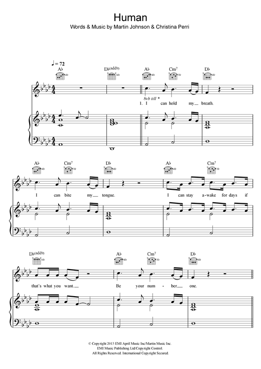 Christina Perri Human Sheet Music Notes Chords Printable Rock