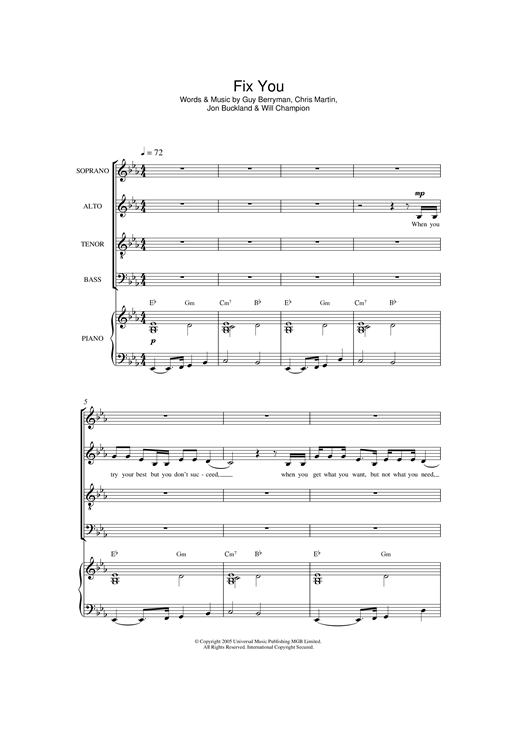 Coldplay Fix You Arr Jonathan Wikeley Sheet Music Notes Chords