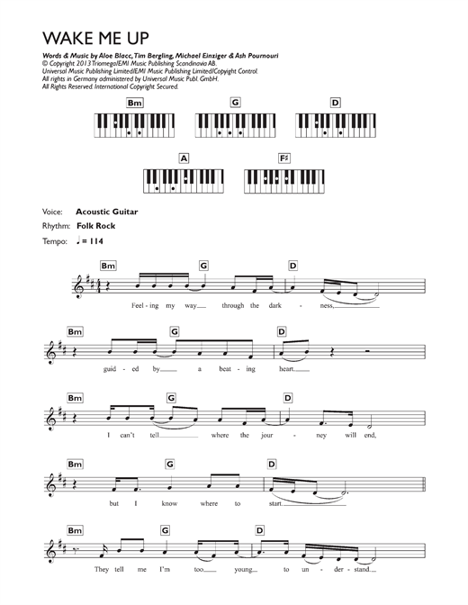 Avicii Wake Me Up Sheet Music Notes Chords Printable Country