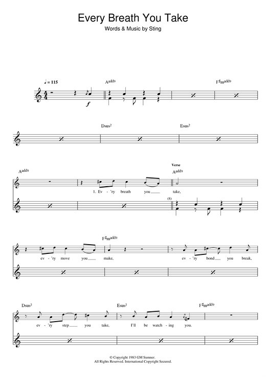 The Police Every Breath You Take Sheet Music Notes Chords