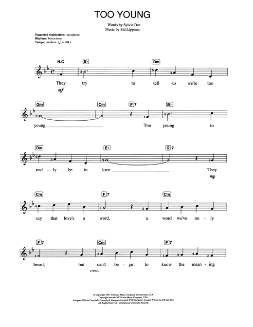 Nat King Cole Too Young Sheet Music Notes Chords Printable