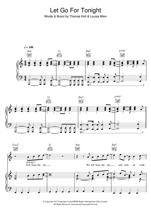 Foxes Let Go For Tonight Sheet Music Notes Chords Printable Pop