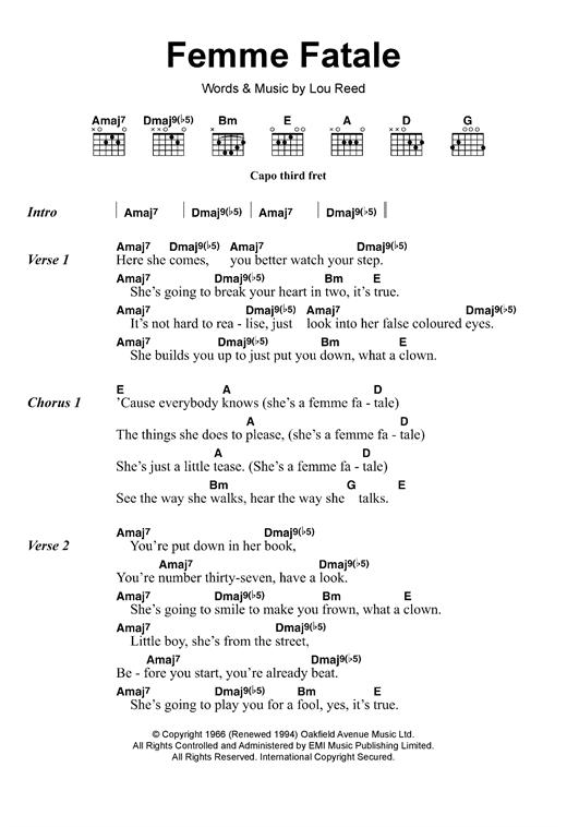 The Velvet Underground Femme Fatale Sheet Music Notes Chords