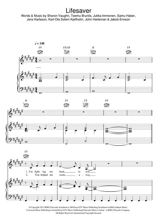 Sunrise Avenue Lifesaver Sheet Music Notes Chords Printable