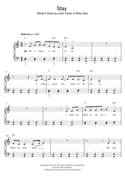 Rihanna Stay Sheet Music Notes Chords Printable R B Beginner