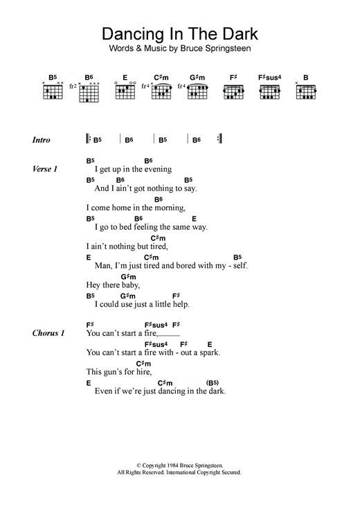Bruce Springsteen Dancing In The Dark Sheet Music Notes Chords