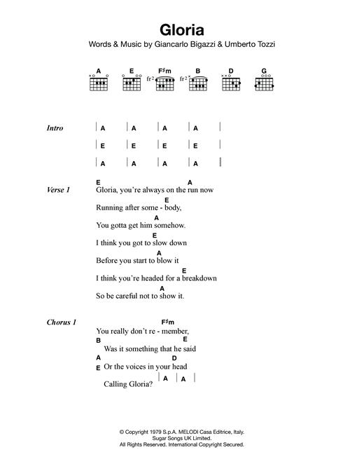 Laura Branigan Gloria Sheet Music Notes Chords Printable Pop