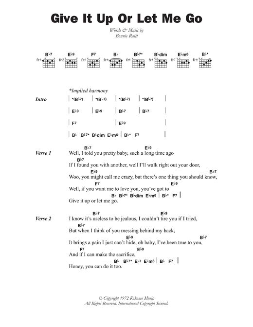 Bonnie Raitt Give It Up Or Let Me Go Sheet Music Notes Chords