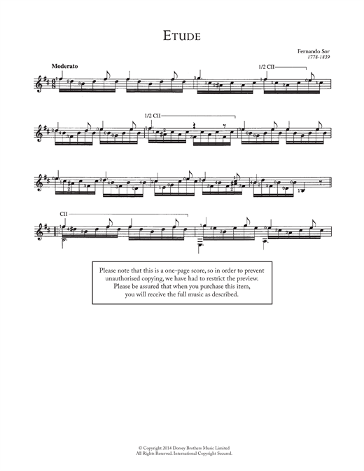 Fernando Sor, Etude, Guitar, sheet music, piano notes, chords, guitar tabs, score, transpose, transcribe, how to play, guide, download, learn, tutorial, progression, song, artist, awards, billboard, mtv, vh1, tour, single, album, release
