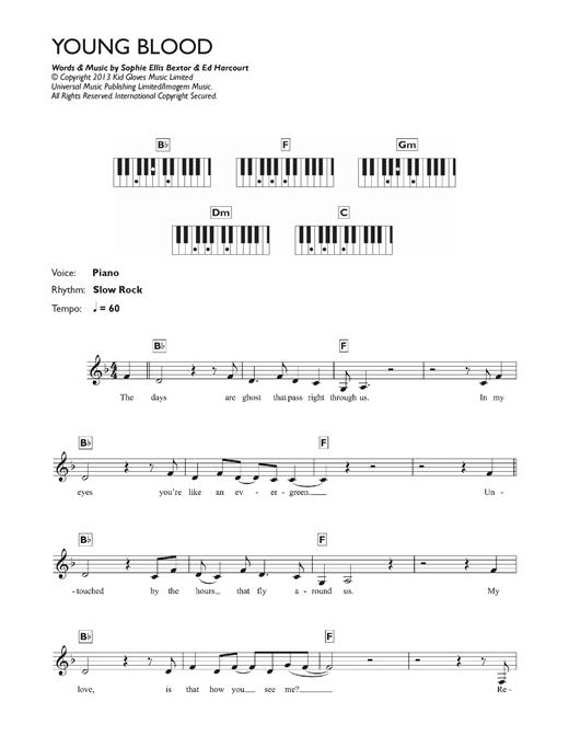 Sophie Ellis Bextor Young Blood Sheet Music Notes Chords