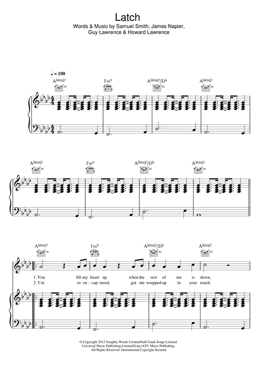 Sam Smith Latch Acoustic Sheet Music Notes Chords Printable