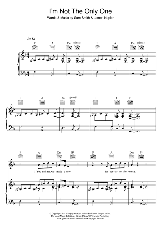 Sam Smith Im Not The Only One Sheet Music Notes Chords