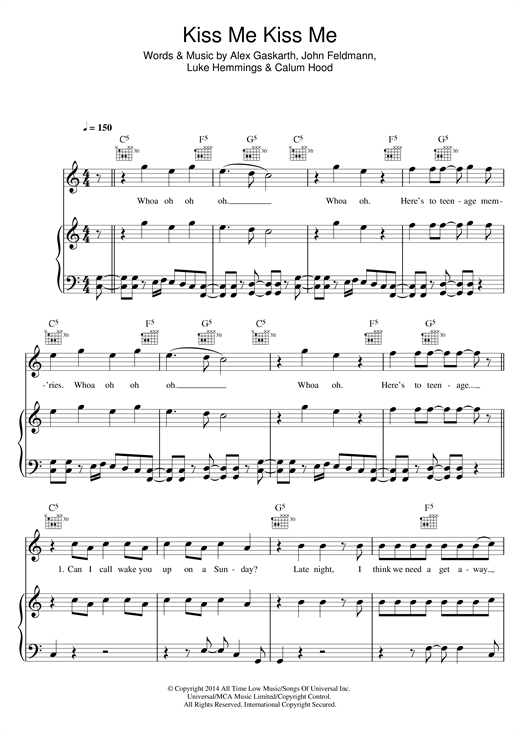 5 Seconds Of Summer Kiss Me Kiss Me Sheet Music Notes Chords