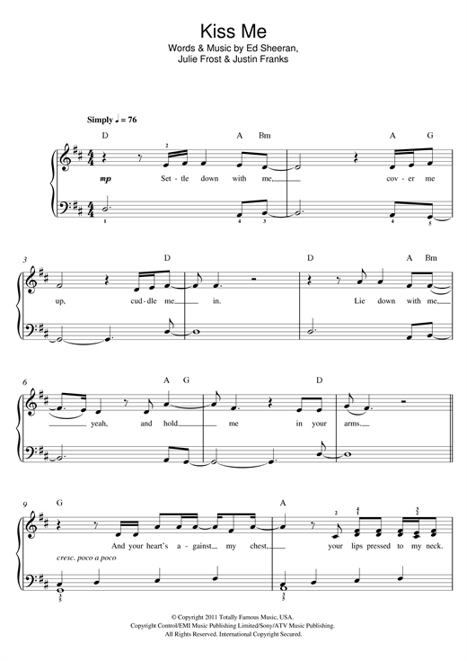 Ed Sheeran Kiss Me Sheet Music Notes Chords Printable Pop