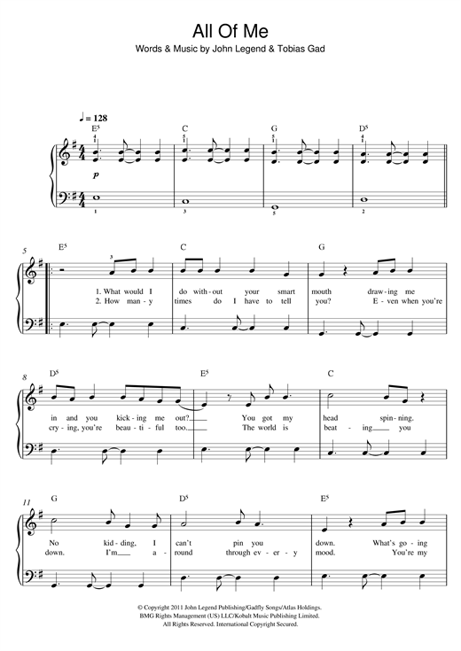 John Legend All Of Me Sheet Music Notes Chords Printable Pop