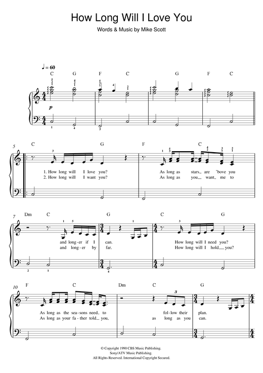 Ellie Goulding How Long Will I Love You Sheet Music Notes Chords