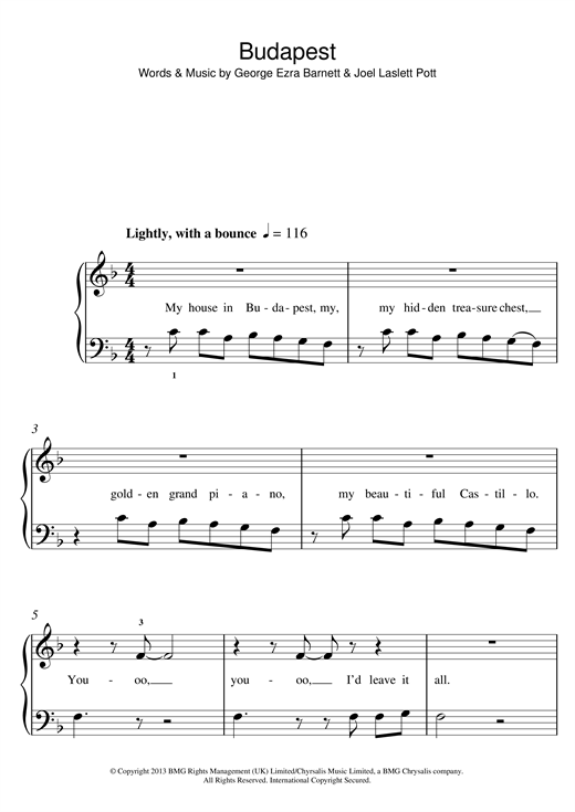 George Ezra Budapest Sheet Music Notes Chords Printable Pop 5