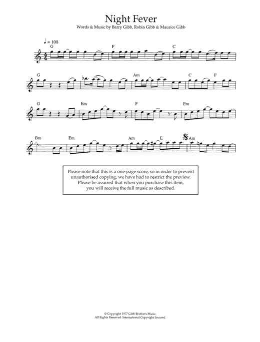 Bee Gees Night Fever Sheet Music Notes Chords Printable Disco