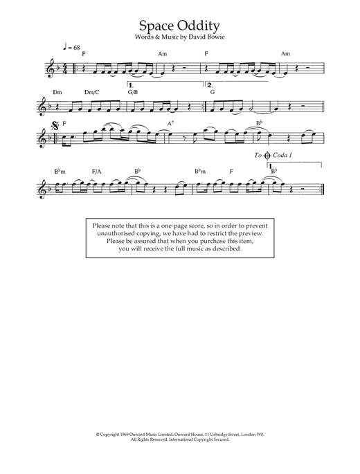 David Bowie Space Oddity Sheet Music Notes Chords Printable Pop