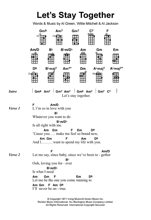 Al Green Lets Stay Together Sheet Music Notes Chords Printable
