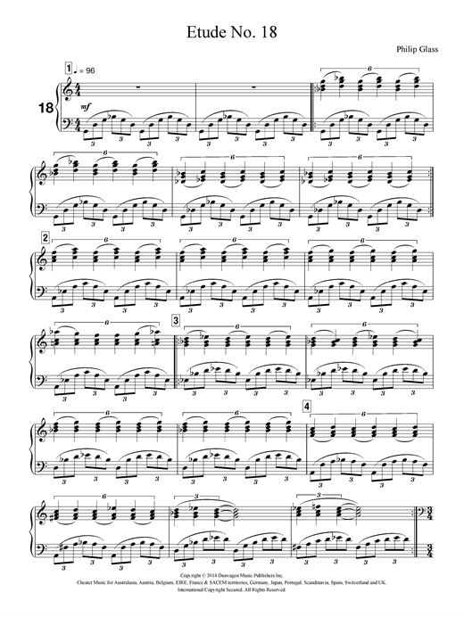 Philip Glass Etude No. 18 sheet music notes and chords