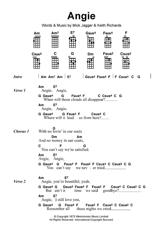 The Rolling Stones Angie Sheet Music Notes Chords Printable