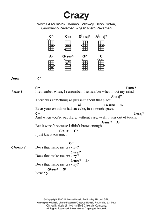 Gnarls Barkley Crazy Sheet Music Notes Chords Printable R B