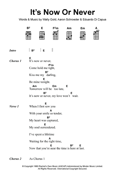 Elvis Presley Its Now Or Never Sheet Music Notes Chords
