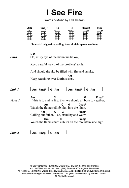 Ed Sheeran I See Fire From The Hobbit Sheet Music Notes Chords