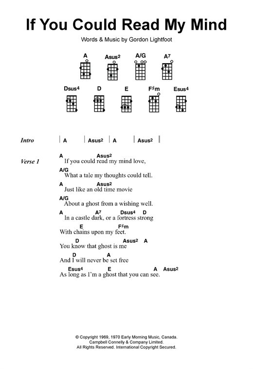 Gordon Lightfoot If You Could Read My Mind Sheet Music Notes