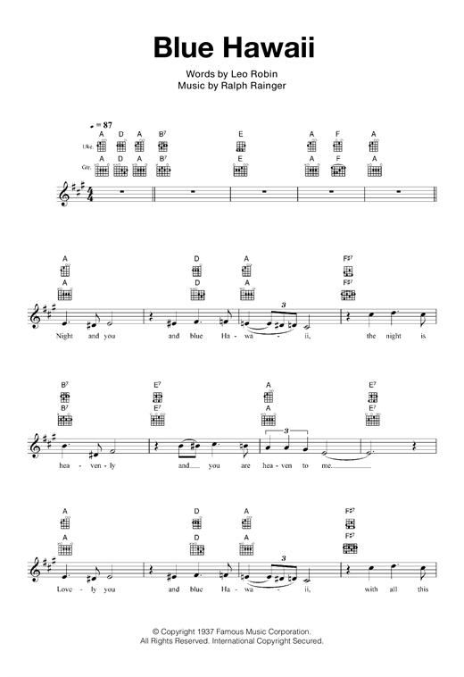 Billy Vaughn Blue Hawaii Sheet Music Notes Chords Printable