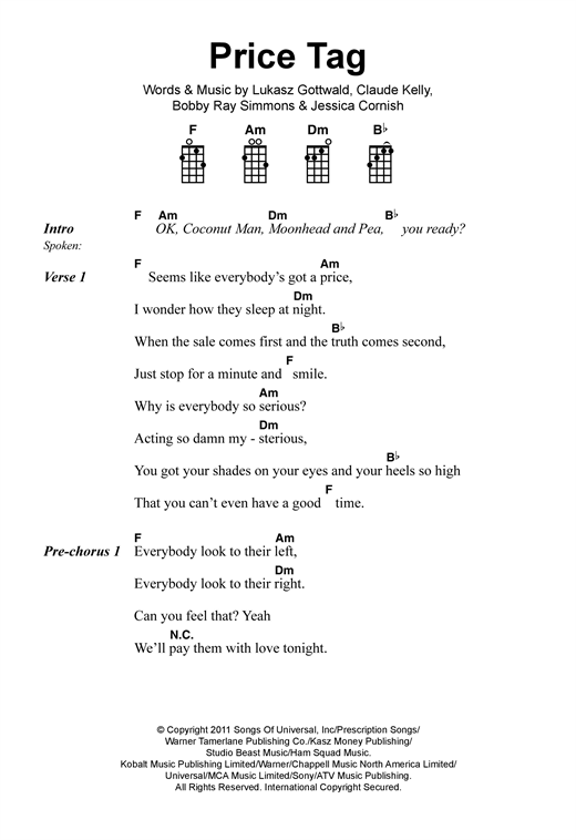 Jessie J Price Tag Sheet Music Notes Chords Printable Pop