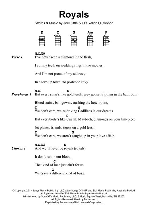 Lorde Royals Sheet Music Notes Chords Printable Pop Ukulele
