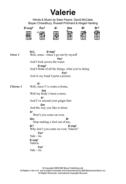 Amy Winehouse Valerie Sheet Music Notes Chords Printable Pop