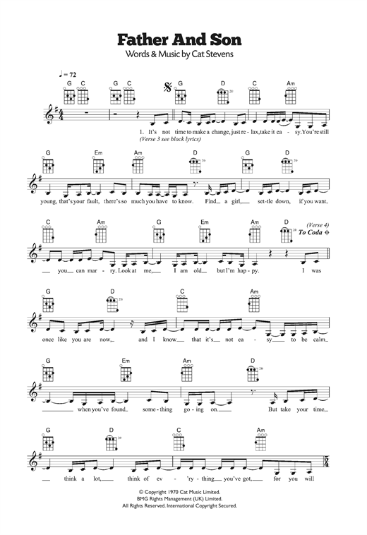 Cat Stevens Father And Son Sheet Music Notes Chords Printable