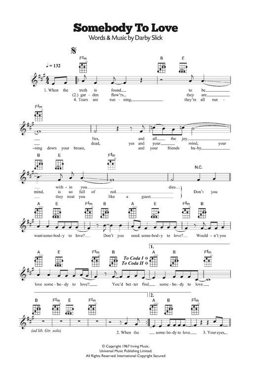 Jefferson Airplane 'Somebody To Love' Sheet Music Notes, Chords   Download  Printable Ukulele - SKU: 120330