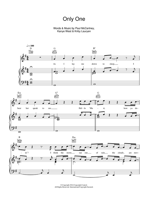 Kanye West Only One Feat Paul Mccartney Sheet Music Notes