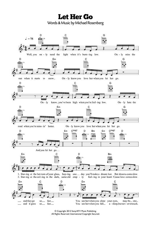 Passenger Let Her Go Sheet Music Notes Chords Printable Pop