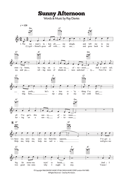 The Kinks Sunny Afternoon Sheet Music Notes Chords Printable R
