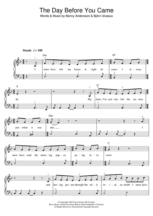 The day before you came sheet music | abba | ukulele.