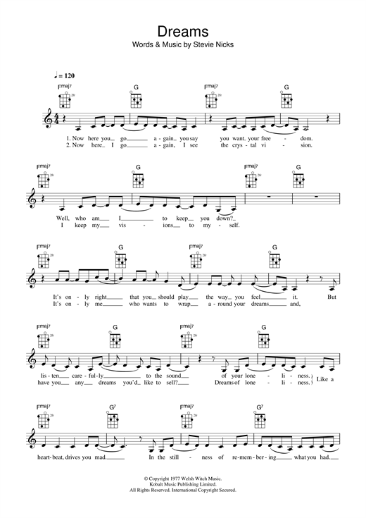 Fleetwood Mac Dreams Sheet Music Notes Chords Printable Pop