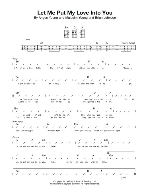 Acdc Let Me Put My Love Into You Sheet Music Notes Chords