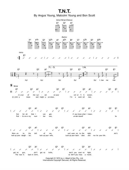 Acdc Tnt Sheet Music Notes Chords Printable Rock Ukulele
