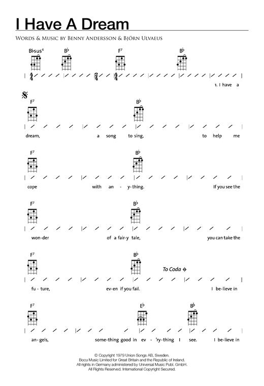 Abba I Have A Dream Sheet Music Notes Chords Printable Disco