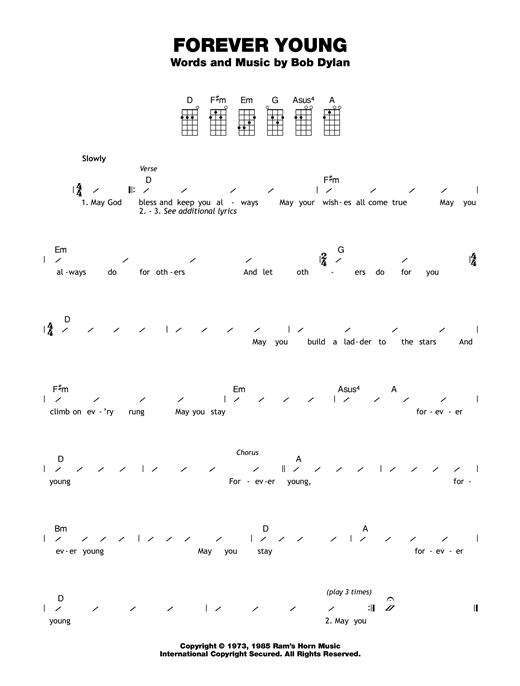 Bob Dylan Forever Young Sheet Music Notes Chords Printable Folk