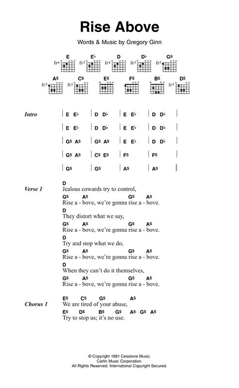 Black Flag Rise Above Sheet Music Notes Chords Printable Rock
