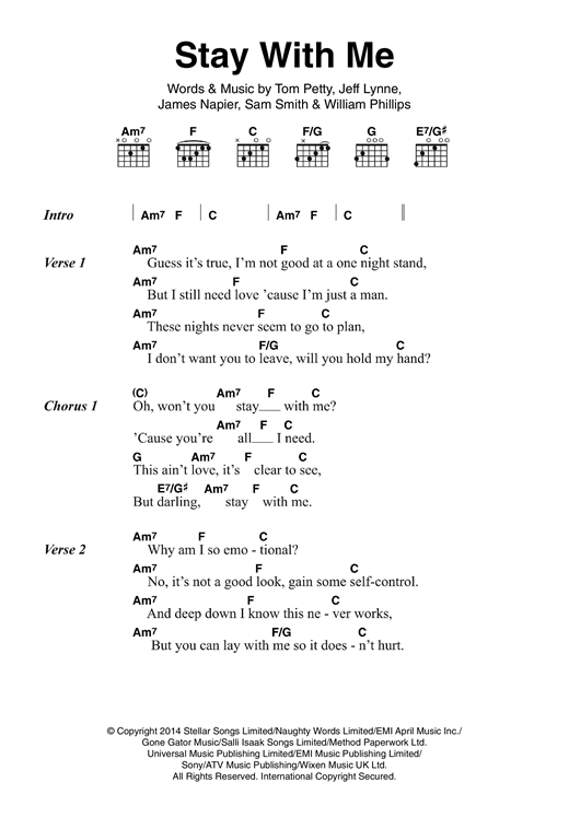 Sam Smith Stay With Me Sheet Music Notes Chords Printable Pop